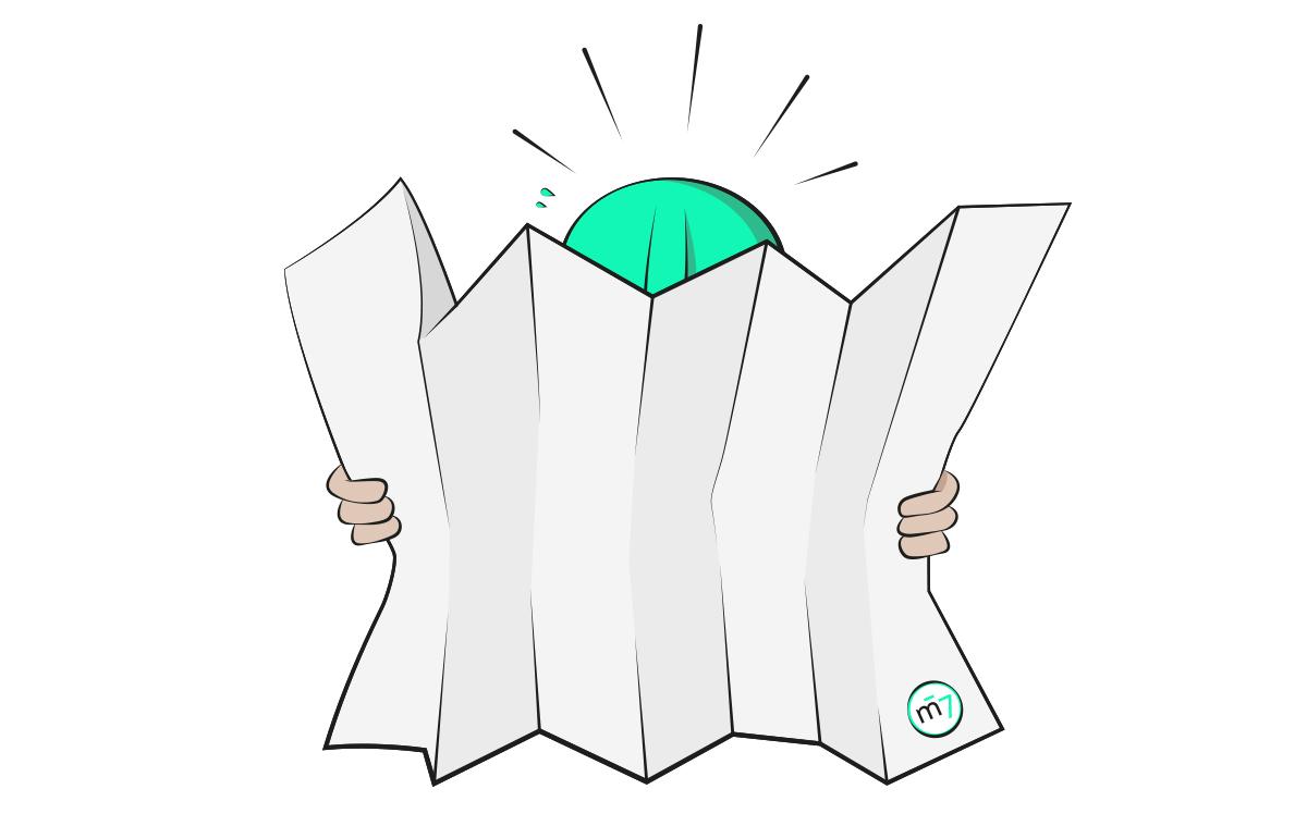 Illustration des Métroboys, welcher auf seiner Karte das Konzept für eine neue Website für einen Kunden versucht herauszufinden. Métro7, die Werbeagentur für SEO, Online Marketing, Text und Konzept, Kommunikation, Grafik und Kultur.