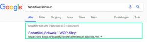 Fanartikel Schweiz - WOP-Shop auf Platz eins beim Google Ranking. SEO Optimierung durch die Werbeagentur métro7 aus Basel.
