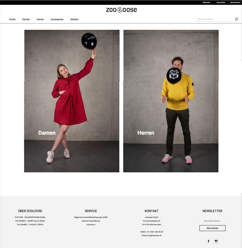 Startseite des Onlineshops zooloose.ch. Webdesign der Werbeagentur métro7 aus Basel.